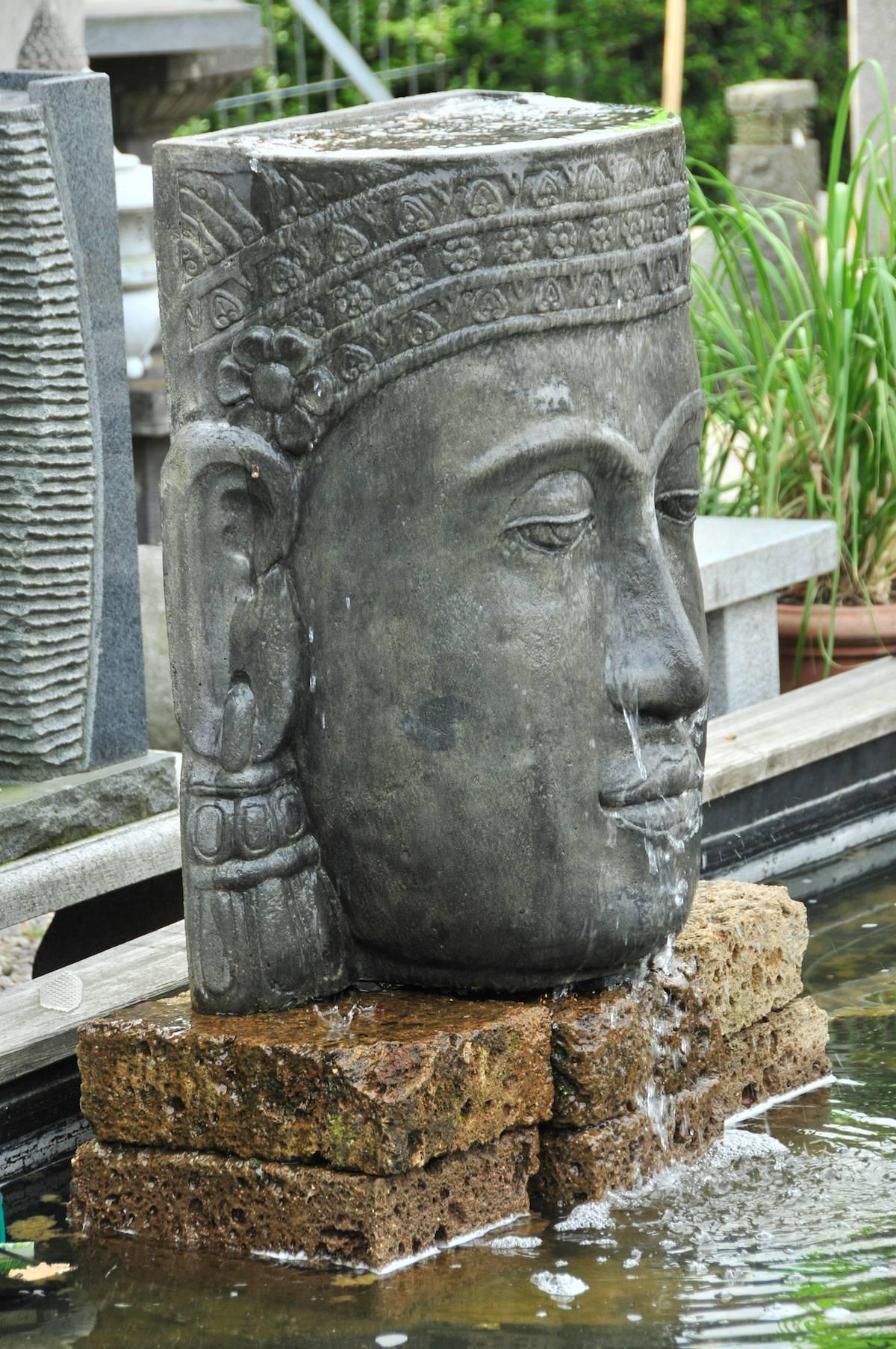 wasserfall khmer kopf steinguss buddha wasserwand garten brunnen mit pumpe ebay. Black Bedroom Furniture Sets. Home Design Ideas